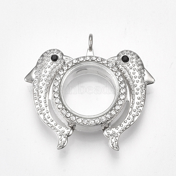Alloy Locket Pendants, with Glass and Rhinestones, Magnetic, Dolphin, Crystal, Platinum, 42x46x12.5mm, Hole: 3.5mm, Inner Diameter: 18mm(X-PALLOY-Q426-04P)