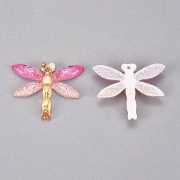 Plastic Pendants, Dragonfly, Colorful, 26.5x31.5x4.5mm, Hole: 1.2mm(KY-TAC0005-03H)