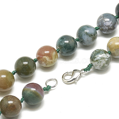 Natural Indian Agate Beaded Necklaces(NJEW-S405-10)-2