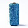 Cotton String Threads, Macrame Cord, Decorative String Threads, for DIY Crafts, Gift Wrapping and Jewelry Making, Dodger Blue, 3mm, about 109.36 yards(100m)/roll
