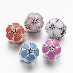 Émail en alliage fermoirs européennes, fleurs perles grand trou, argent antique, couleur mixte, 11x12mm, Trou: 3mm(MPDL-R036-40)