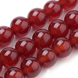 Natural Carnelian Beads Strands, Dyed, Round, 8mm, Hole: 1mm; about 50pcs/strand, 15.7inches