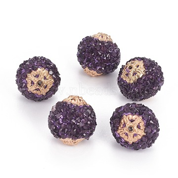 20mm Purple Round Resin+Rhinestone Beads