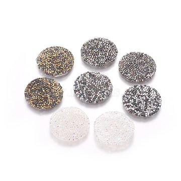 Glitter Hotfix Rhinestone, Iron on Patches, Dress Shoes Garment Decoration, Flat Round, Mixed Color, 23~24x1.5mm(GLAA-P047-D-24mm)