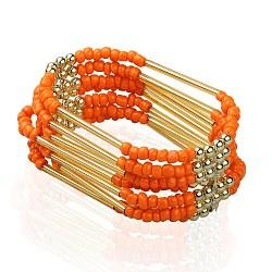 Plusieurs perles en verre de graine de brin bracelets, avec des billes de fer et coréen fils de cristal élastiques, métal couleur or, tomate, 56mm(BJEW-JB01288-03)