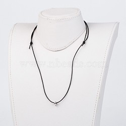 Cowhide Leather Cord Necklace Making, with Stainless Steel Beads, Black, 19.6 inches~29.9 inches(X-NJEW-JN01692)