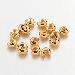 Couvertures de perles à sertir en fer, Sans cadmium & sans nickel & sans plomb, or, 3 mm de diamètre; trou: 1.2~1.5 mm(X-IFIN-H028-NFG-NF)