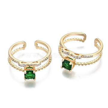 Brass Micro Pave Cubic Zirconia Cuff Rings, Open Rings, Square, Nickel Free, Green, Real 18K Gold Plated, US Size 7(17.3mm)(KK-S354-289-NF)