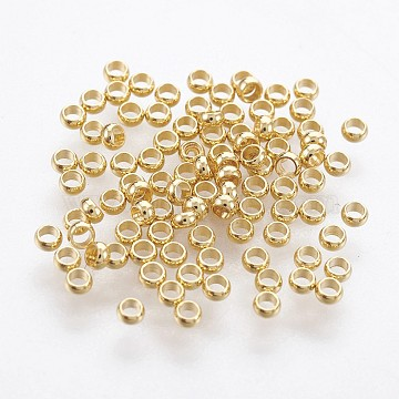 316 Surgical Stainless Steel Crimp Beads, Rondelle, Golden, 1.9mm, Hole: 1mm(X-STAS-P221-25G)