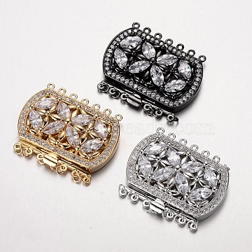 Brass Cubic Zirconia Box Clasps, Cadmium Free & Nickel Free & Lead Free, Rectangle, Mixed Color, 34x43x12mm, Hole: 1.5mm(ZIRC-O020-08-NR)