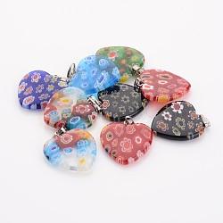 Perles en verre de millefiori manuelles, avec des agrafes de fer, cœur, couleur mixte, 20x20x3.5mm, Trou: 2mm(X-G23C9011)