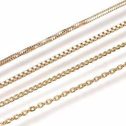 """Colliers de chaîne en laiton plaqué longue durée, avec fermoir, sans nickel, véritable plaqué or, 18.1""""~18.3"""" (46~46.5 cm)(NJEW-MSMC002-14G-NF)"""