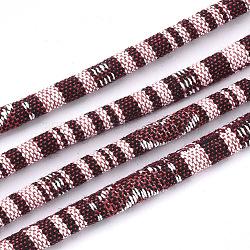 Cordes en tissu de style ethnique, avec cordon en coton à l'intérieur, mistyrose, 6.5~7x5 mm; environ 100 m / bundle(OCOR-S034-28)