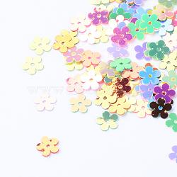 Perles de paillette d'accessoire en plastique pour disque, perles de paillettes, fleur, couleur mixte, 7x7x0.2mm, trou: 1 mm; environ 3000 pcs / 50 g(X-PVC-R016-M)