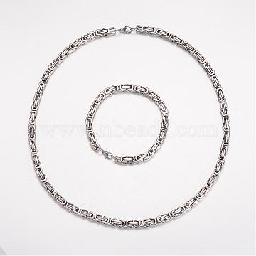 304 Stainless Steel Jewelry Sets, Byzantine Chain Necklaces and Bracelets, Stainless Steel Color, 23.23 inches(590mm); 9 inches(230mm)(SJEW-K061-01P-6mm)
