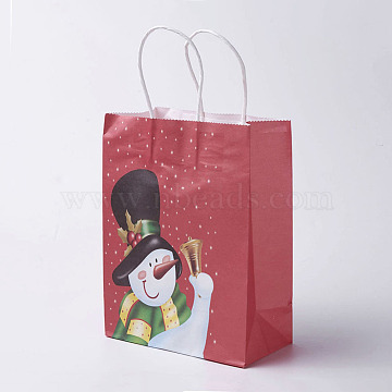 kraft Paper Bags, with Handles, Gift Bags, Shopping Bags, For Christmas Party Bags, Rectangle, Colorful, 21x16x8cm(CARB-E002-S-A03)