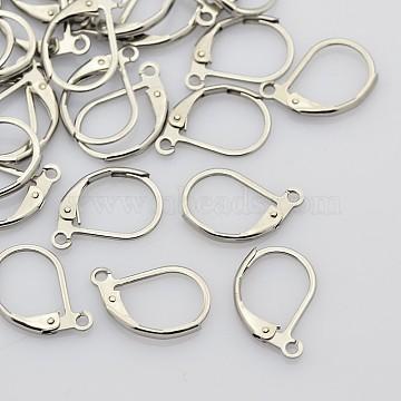 France Earring Hoop, 304 Stainless Steel, Leverback Earring Findings, Stainless Steel Color, 15x10x2mm, Hole: 1.5mm(STAS-H010)