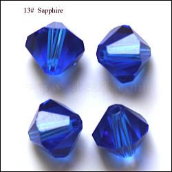 imitation perles de cristal autrichien, AAA grade, facettes, Toupie, bleu, 6x6 mm, trou: 0.7~0.9 mm(SWAR-F022-6x6mm-206)