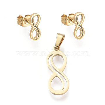 Infinity 304 Stainless Steel Jewelry Sets, Pendants and Stud Earrings, with Ear Nuts, Golden, 22x8x1mm, Hole: 5.5x3.3mm; 11x4.5mm, Pin: 0.7mm(SJEW-K154-11G)