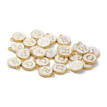 (Defective Closeout Sale: Yellowing), Initial Letter A~Z Alphabet Enamel Charms, Flat Round Disc Double Sided Charms, White, 14x12x2mm, Hole: 1.5mm, 26pcs/set(ENAM-XCP0001-06)