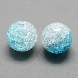 Perles acryliques craquelées transparentes à deux tons, moitié peint à la bombe, rond, bleu foncé, 8mm, trou: 2 mm; environ 1892 pcs / 500 g(CACR-R009-8mm-07)