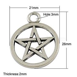Pendentifs de pentagramme de style tibétain, sans plomb, argent antique, 26x21x2mm, Trou: 3mm