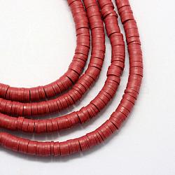 Perles artisanales à l'argile polymère artisanales, disque / rond plat, perles heishi, DarkRed, 6x1 mm, trou: 2 mm; environ 380~400 perle / brin, 17.7(X-CLAY-R067-6.0mm-29)