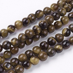 Natural Tiger Eye Round Bead Strands, 4mm, Hole: 1mm; about 83~96pcs/strand, 15.7 inchesinches