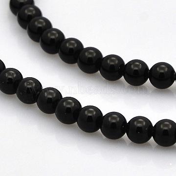 4mm Round Black Agate Beads
