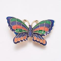 Perles d'émail en alliage, papillon, or clair, colorées, 34x52x3.5mm, Trou: 2mm(PALLOY-G230-40B)