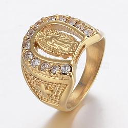 Bagues en 304 acier inoxydable avec strass, anneaux large bande, fer à cheval avec vierge marie, or, taille 8~13, 18~23mm(RJEW-H125-69G)