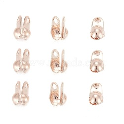 Iron Bead Tips, Calotte Ends, Cadmium Free & Lead Free, Clamshell Knot Cover, Rose Gold, 6x3.5mm, Hole: 1mm, , Inner Diameter: 2.4mm, about 313pcs/20g(X-IFIN-R199-02RG)
