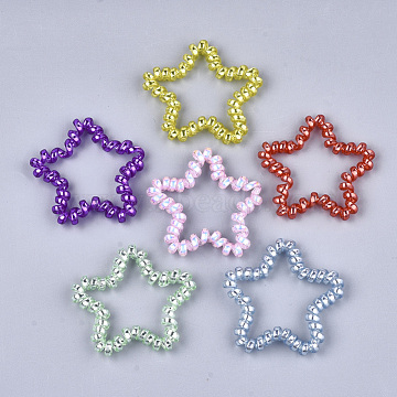 Plastic Telephone Cord Elastic Hair Ties, Ponytail Holder, Star, Mixed Color, 48~52x50~54x6mm(OHAR-T006-27)
