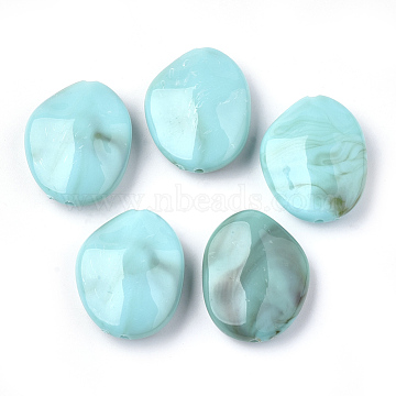 Acrylic Beads, Imitation Gemstone, Nuggets, DarkTurquoise, 27.5x22x9mm, Hole: 1.2mm(X-OACR-S022-23A)