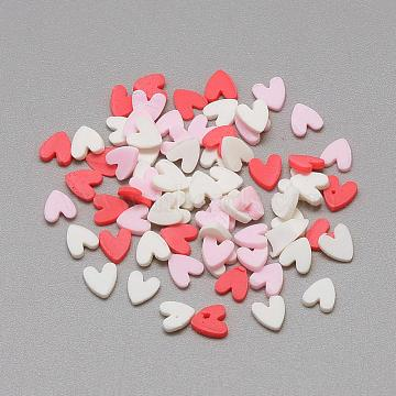 Handmade Polymer Clay Cabochons, Heart, Mixed Color, 4~5x4x0.3~2mm(CLAY-Q242-03)