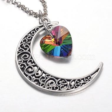 Tibetan Style Moon Alloy Pendant Necklaces(NJEW-JN01180)-3