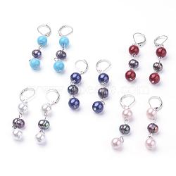 Boucles d'oreilles perle naturel, Pendentifs d'oreilles, avec coquille de nacre et accessoires en laiton, rond, platine, couleur mixte, 56 mm; broche: 0.5 mm.(EJEW-JE02558)