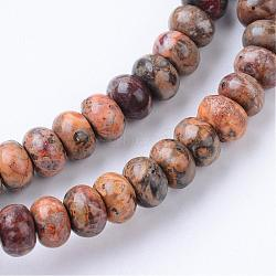 """Brins de perles de jaspe en peau de léopard naturel, rondelle, 6x4mm, trou: 1mm; environ 104 pcs/chapelet, 15.7""""(G-R403-4x6-10)"""