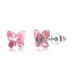 925 boucles d'oreille en argent sterling, avec le cristal autrichien, papillon, sculpté 925, platine, 542 _padparadscha, 5x5 mm(EJEW-BB30547-D)