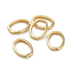 réglage de strass, fermoirs de raccourcisseur de laiton, fermoirs twister, plaqué longue durée, anneau ovale, véritable plaqué or, 26.5x19.5x4 mm(ZIRC-G160-06G)