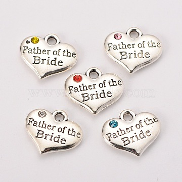 Wedding Theme Antique Silver Tone Tibetan Style Alloy Heart with Father of the Bride Rhinestone Charms, Mixed Color, 14x16x3mm, Hole: 2mm(X-TIBEP-N005-19)