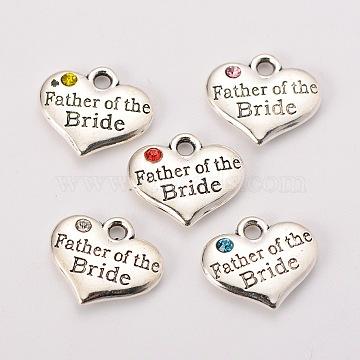 Тема свадьбы античный серебряный тон тибетский стиль сплава сердца с отцом невесты горный хрусталь подвески, разноцветные, 14x16x3 мм, отверстие : 2 мм(X-TIBEP-N005-19)