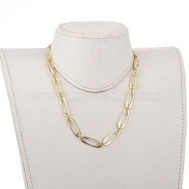 Safety Pin Shape Alloy Link Chain Necklaces(NJEW-JN02989)-4