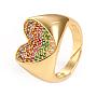 регулируемые кольца манжеты из латуни с микропаве и кубическим цирконием, сердце, красочный, золотой, Размер 7, Внутренний диаметр: 17 mm