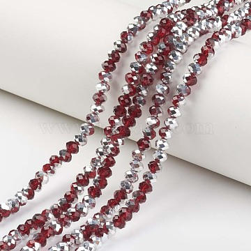 "Electroplate Transparent Glass Beads Strands, Half Silver Plated, Faceted, Rondelle, DarkRed, 10x8mm, Hole: 1mm; about 62pcs/strand, 22.05""(56cm)(EGLA-A034-T10mm-M02)"