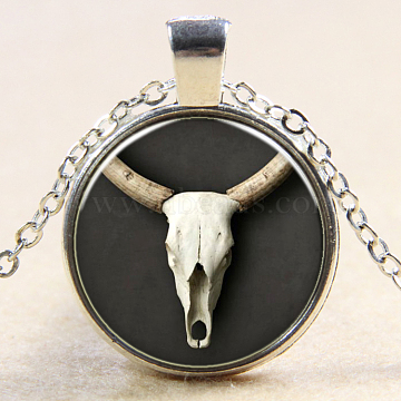 Christmas Reindeer/Stag Pattern Flat Round Glass Pendant Necklaces, with Alloy Chains, Silver Color Plated, 18inches(NJEW-N0051-034A-02)