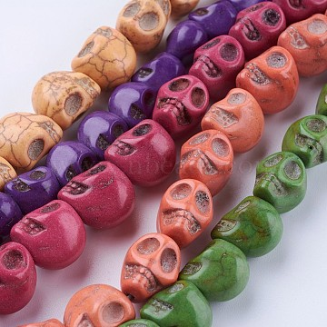 Synthetic Turquoise Beads Strands, Dyed, Skull, Mixed Color, 10~13.5x8~11x9~13mm, Hole: 1~1.5mm; about 29~40pcs/strand, 15.1''~16.1''(38.5~41cm)(G-P347-09)