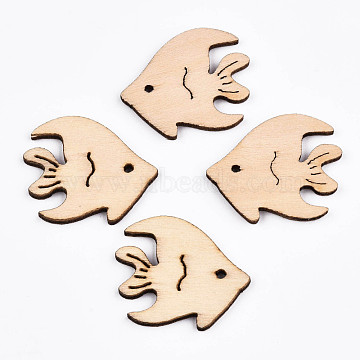 Undyed Natural Wooden Cabochons, Laser Cut, Tropical Fish, Antique White, 24.5x28x2.5mm, Hole: 1.6mm(X-WOOD-S058-026)