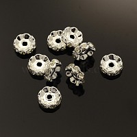 Brass Rhinestone Spacer Beads, Grade A, Wavy Edge, Silver Color Plated, Rondelle, Crystal, 10x4mm, Hole: 2mm
