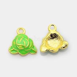Ton or pendentifs émail d'alliage de fleurs, breloques rose, lime, 16x16x4mm, Trou: 2mm(ENAM-J451-03G)